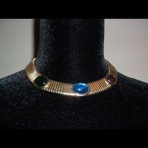 "Jewelry - Vtg ""Cleopatra"" style choker necklace w/faux gems"